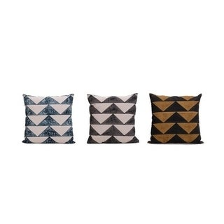 Block printed decorative triangles 20inch Pillow Cover(Set of 3)