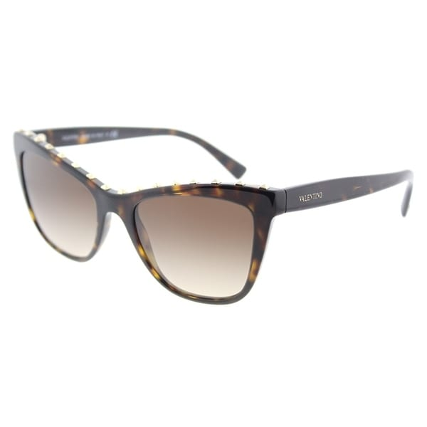 8268aacb55c Valentino Cat Eye VA 4022 500213 Womens Havana Frame Brown Gradient Lens  Sunglasses
