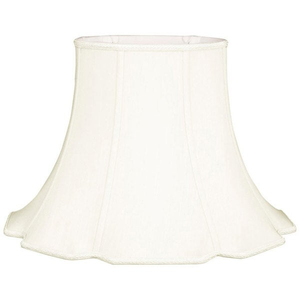 Royal Designs Scalloped Oval Bell Designer Lamp Shade, White, (7 x 5.25) x (14 x 10.5) x 10