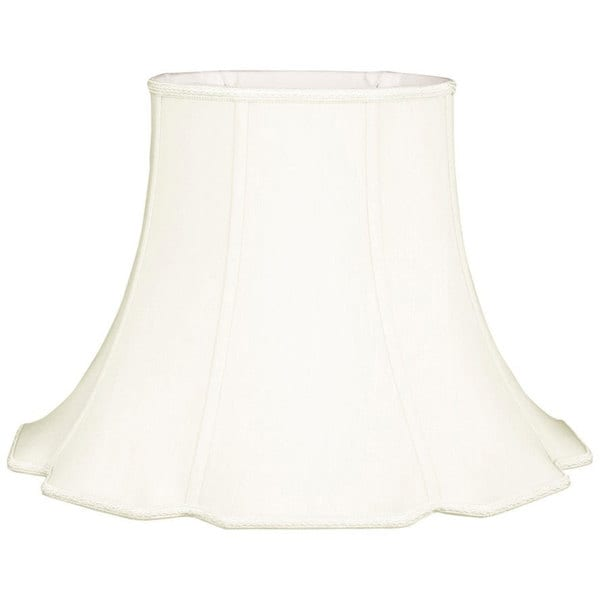 Royal Designs Scalloped Oval Bell Designer Lamp Shade, White, (9 x 7) x (18 x 14) x 12.5