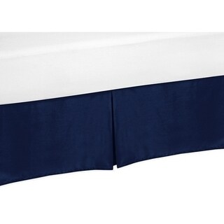 Sweet Jojo Designs Queen Bed Skirt for the Navy Blue and Gray Stripe Collection