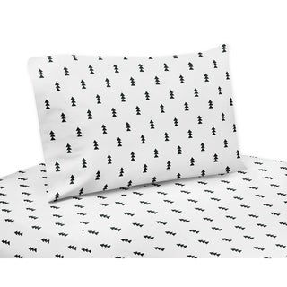 Black and White Triangle Tree Print Twin Sheet Set for the Bear Mountain Collection by Sweet Jojo Designs