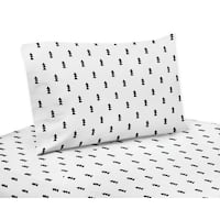 Black and White Triangle Tree Print Queen Sheet Set for the Bear Mountain Collection by Sweet Jojo Designs