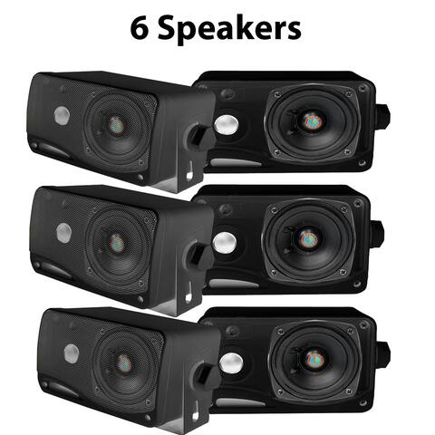 Pyle PLMR24B-3 3.5'' 200 Watt 3-Way Weather Proof Mini Box Speaker System (Black) 3 Pack