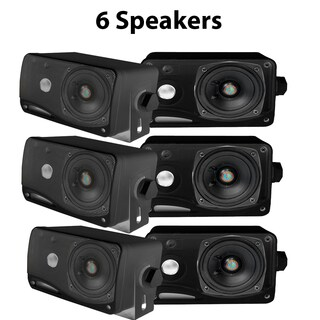 Pyle PLMR24B-3 3.5'' 200 Watt 3-Way Weather Proof Mini Box Speaker System (Black) 3 Pack