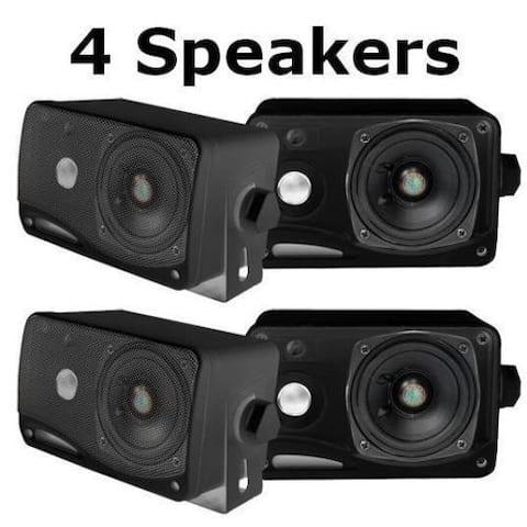 Pyle PLMR24B-2 3.5'' 200 Watt 3-Way Weather Proof Mini Box Speaker System (Black) 2 Pack