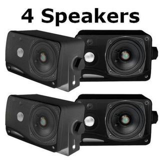 Pyle PLMR24B-2 3.5'' 200 Watt 3-Way Weather Proof Mini Box Speaker System (Black) 2 Pack
