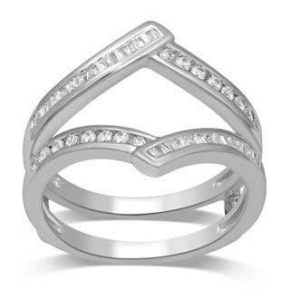 unending love 14k white gold 12ct tdw round and baguette enhancer set - Wedding Ring Enhancers