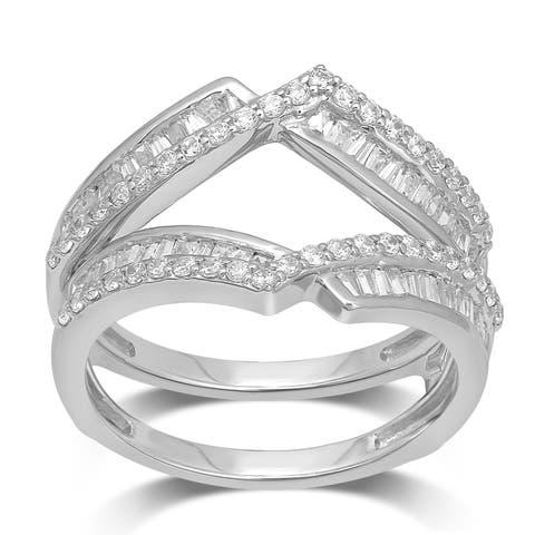 Unending Love 14k White Gold 3/4 ctw Round and Baguette Diamond ( I-J Color, I2-I2 Clarity ) Enhancer set