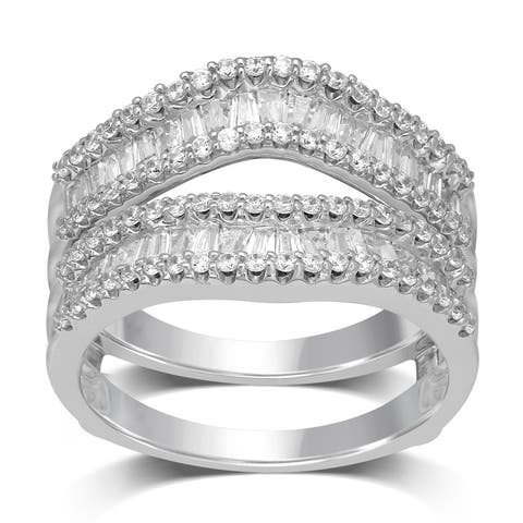 Unending Love 14k White Gold 1 ctw Round and Baguette Diamond ( I-J Color, I1-I2 Clarity ) Wrap Guard Ring