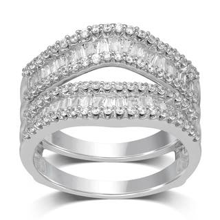 unending love 14k white gold 1ct tdw round and baguette enhancer set - Wedding Ring Enhancers