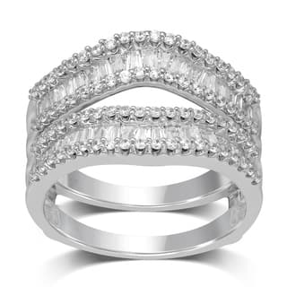 unending love 14k white gold 1ct tdw round and baguette enhancer set - Overstock Wedding Rings
