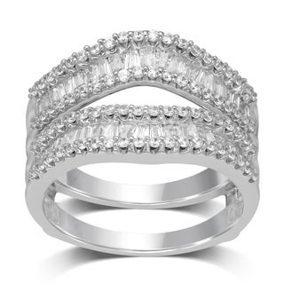 Unending Love 14k White Gold 1 ctw Round and Baguette Diamond ( I-J Color, I1-I2 Clarity ) Wrap Guard Ring (More options available)