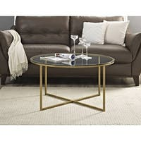 36-inch Coffee Table with X-Base - Goldtone Finish in White (As Is Item)