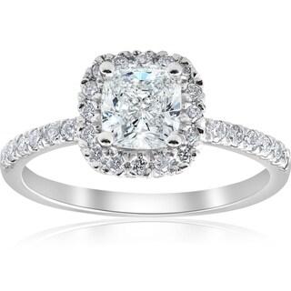Link to Pompeii3 14k White Gold 2 ct TDW Cushion Diamond Clarity Enhanced Halo Engagement Ring Similar Items in Wedding Rings