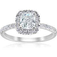 Bliss 14k White Gold 2 ct TDW Cushion Diamond Clarity Enhanced Halo Engagement Ring