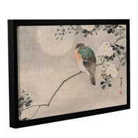 School Japanese's Japanese Silk Painting of a Wood Pigeon 1800 1899, Gallery Wrapped Floater-framed Canvas