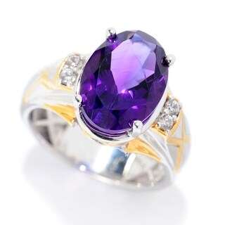 Michael Valitutti Palladium Silver Tanzanian Amethyst & White Zircon Polished Men's Ring