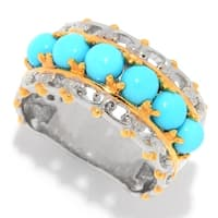 Michael Valitutti Palladium Silver Sleeping Beauty Turquoise 6-Stone Band Ring
