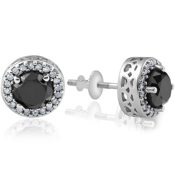 c4714c6d1 ... Diamond Earrings. Bliss 14k White Gold 2 1/4 ct TDW Black & White  Halo Vintage
