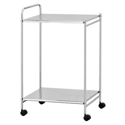 Porch & Den Comley Chrome Kitchen Cart with Casters