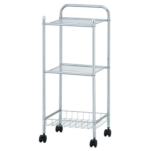 Porch & Den Copeland Chrome 3-tier Tray Shelf with Casters