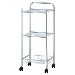 Porch & Den Copeland Chrome 3-tier Tray Shelf with Casters