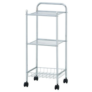 Furinno Wayar 3-Tier Tray Shelf with Casters, Chrome, WS17321