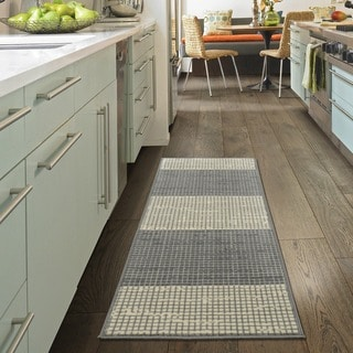 "Ottomanson Studio Collection Grey Layered Design Runner Rug, (20"" x 59"")"