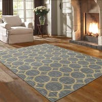 Ottomanson Studio Collection Grey Circles Design Area Rug, - 5' x 7'