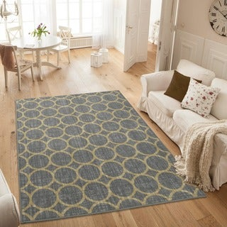 Ottomanson Studio Collection Grey Circles Design Area Rug (3' x 5')