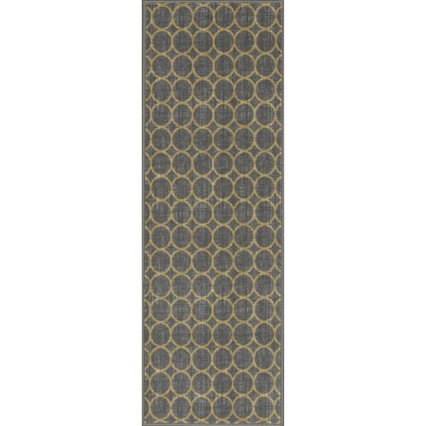 """Ottomanson Studio Collection Grey Circles Design Runner Rug, (20"""" x 59"""")"""