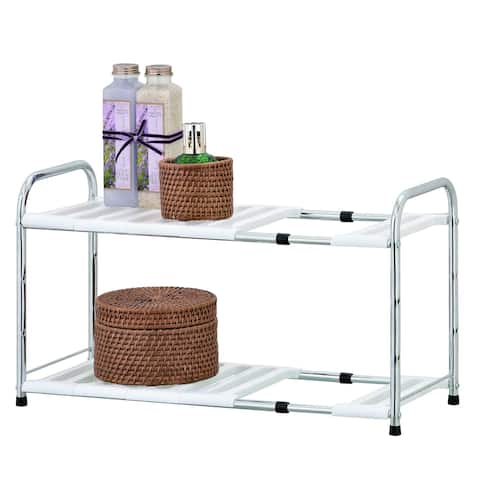 Porch & Den Cornell Chrome Adjustable Under Sink Shelf