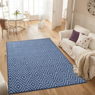 Ottomanson Studio Collection Blue Diamonds Design Area Rug (3' x 5')