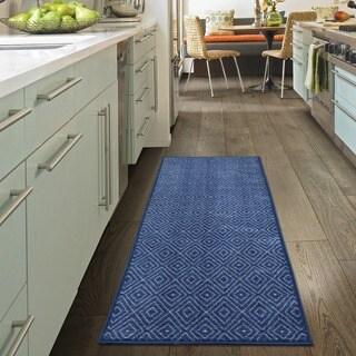 "Ottomanson Studio Collection Blue Diamonds Design Runner Rug, (20"" x 59"")"