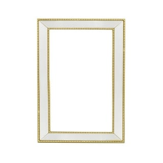 Three Hands Wood Beveled Mirror - Gold