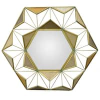 Three Hands Gold Abstract Hexagon Wall Mirror