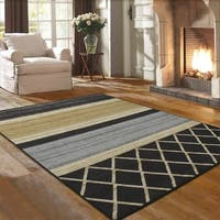 Ottomanson Studio Collection Grey Multilayered Design Area Rug, (5' x 7') - 5' x 6'6""