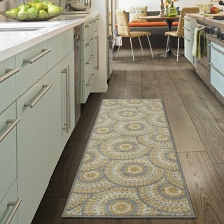 "Ottomanson Studio Collection Grey Mosaic Medallion Design Runner Rug, (20"" x 59"")"