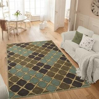 Ottomanson Studio Collection Multicolor Squares Design Area Rug (3' x 5') - 3'3 x 5'