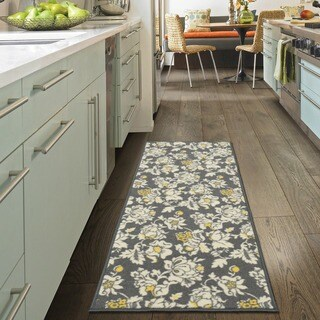 "Ottomanson Studio Collection Grey Floral Design Runner Rug, (20"" x 59"")"