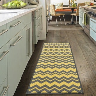Ottomanson Studio Collection Yellow Grey Chevron Design Runner Rug, - 1'8 x 4'11