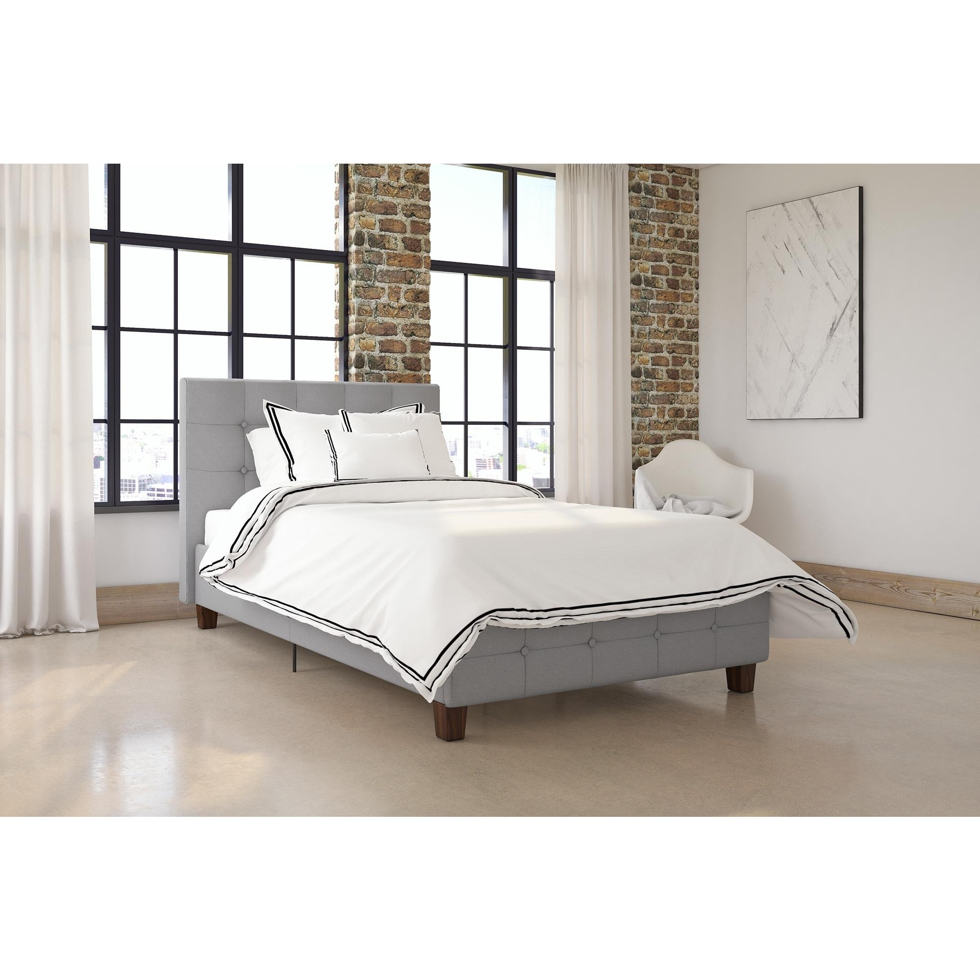 DHP Rose Linen Upholstered Twin Bed (As Is Item) (Grey)