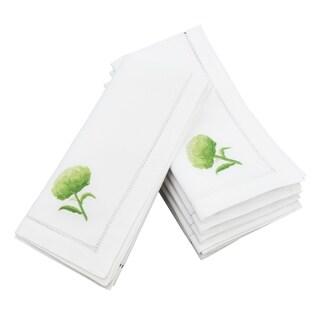 Embroidered Artichoke Design Hemstitched Border Cotton Napkin - set of 6 pcs