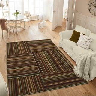 Ottomanson Studio Collection Multicolor Stripes Design Area Rug (3' x 5')