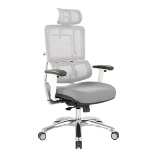 Breathable White Vertical Mesh Office Chair with Fabric Seat in Steel with Headrest