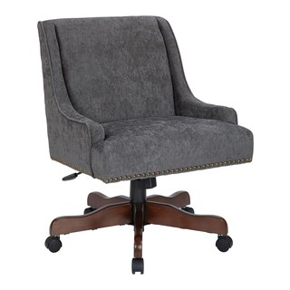 INSPIRED by Bassett Everton Midcentury Home Office Chair in Charcoal Fabric with Bronze Nail heads and Coffee Base