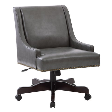 INSPIRED by Bassett Everton Midcentury Home Office Chair in Pewter Bonded Leather with Bronze Nail heads and Espresso Base