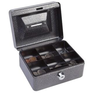 Hercules CB0604 Key Locking Cash Box, Recycled Steel, Silver Vein