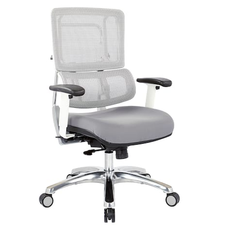 Breathable White Vertical Mesh Office Chair with Fabric Seat in Steel